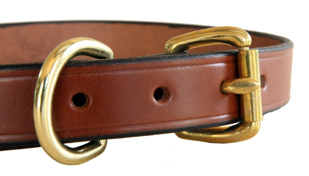 closeup of brass hardware with brown leather collar