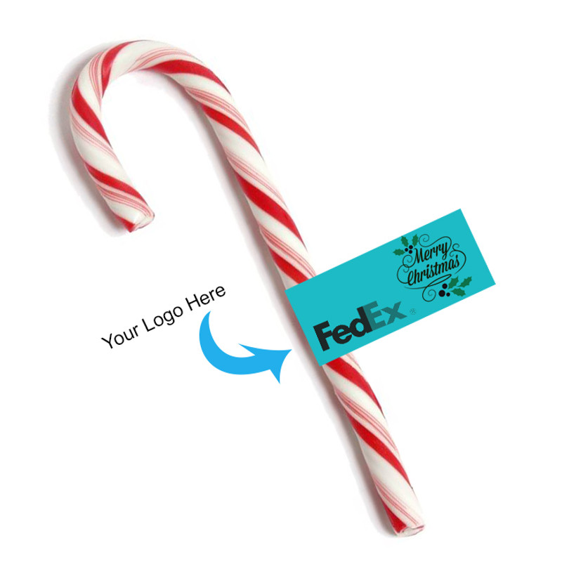Branded Christmas Candy Cane Flag Tag