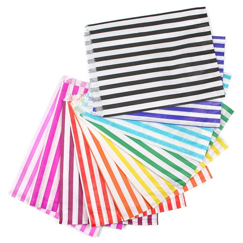 Branded Striped Candy Bag With Retro Sweets