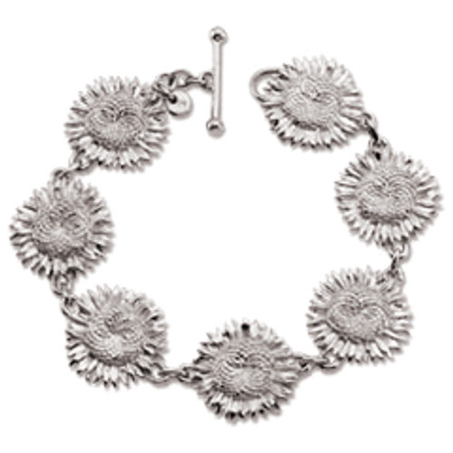 Beautiful Sterling Silver Sunflower Bracelet