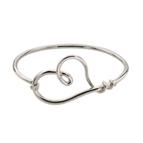 Sterling Silver Hand Formed Heart Bangle