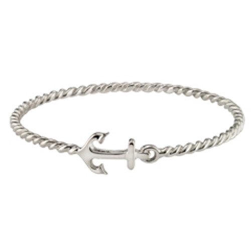 Sterling Silver Anchor Bangle