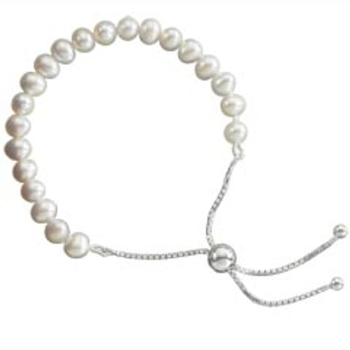 5mm Sterling Silver Adjustable Childrens Pearl Lariat Bracelet