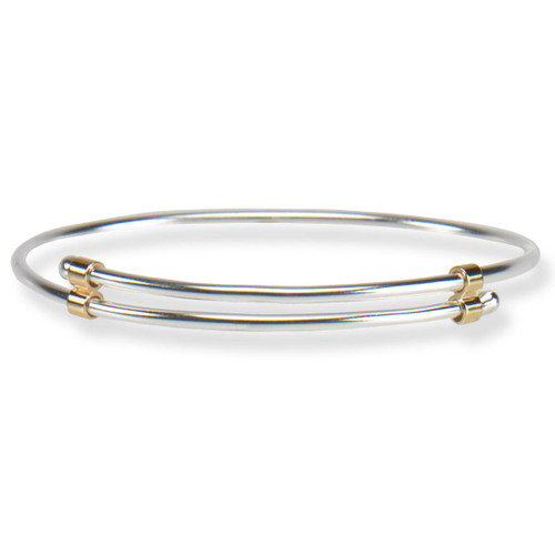 Handmade simple Sterling & 14kt Newport Bracelet