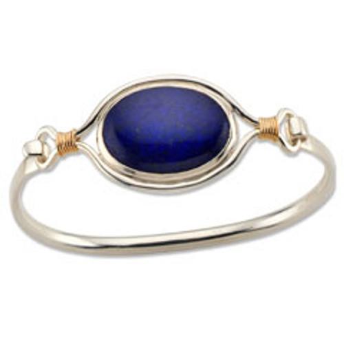 Sterling & 14kt Lapis Lazuli Clip Bracelet