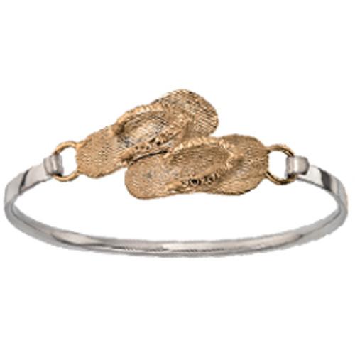 Beach Wear Sterling & 14kt Flip Flops Clip Bracelet