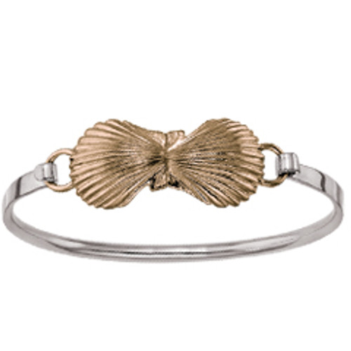 Sterling & 14kt Small Scallop Shells Clip Bracelet