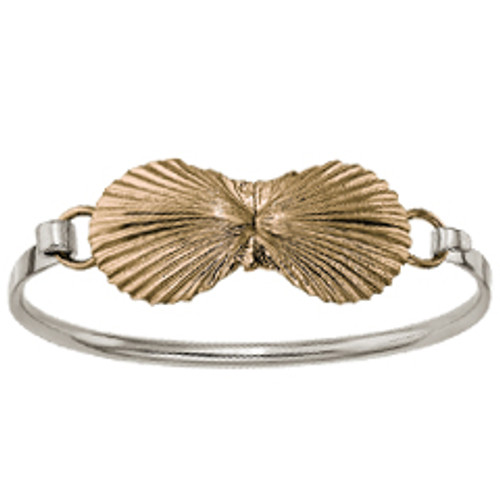 Sterling & 14kt Large Scallop Shells Clip Bracelet