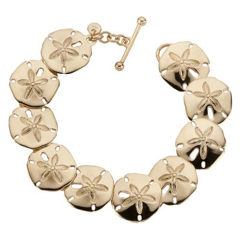 14kt Sand Dollar Bracelet with sparkeling Chain