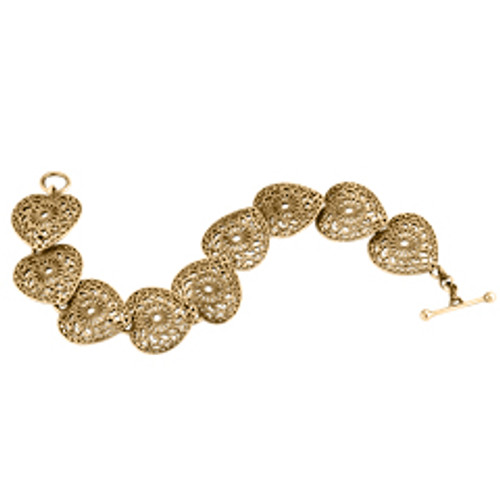 Joint with two lace doily 14kt Victorian Lace Heart Bracelet