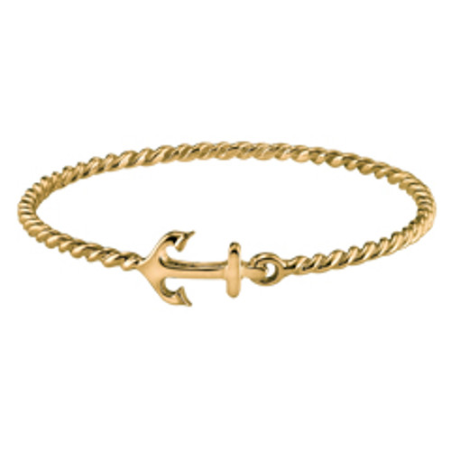 Twisted Rope 14kt Anchor Bangle