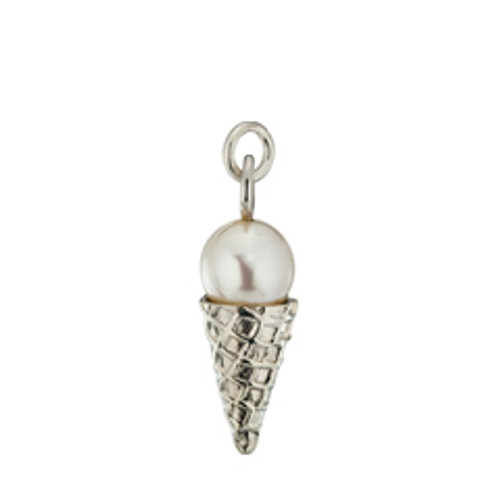 Sterling Silver Vanilla Ice Cream Sugar Cone Charm