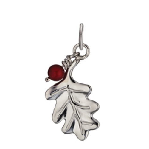 Sterling Silver Oak Leaf & 5mm Carnelian Bead Charm with Jump Ring