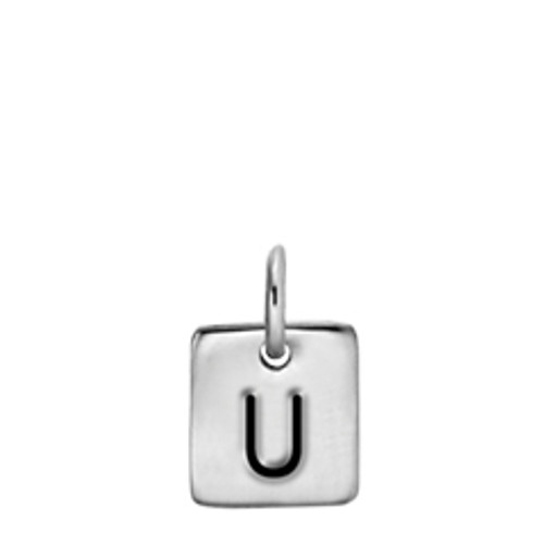 Sterling Silver Expression Square Charm High with High Polished