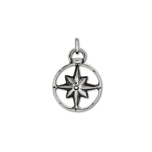 Sterling Silver Compass Charm Symbolize Power comes with Jump Ring to attach