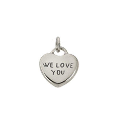 "Sterling Silver Candy Heart Charm ""We Love You"""