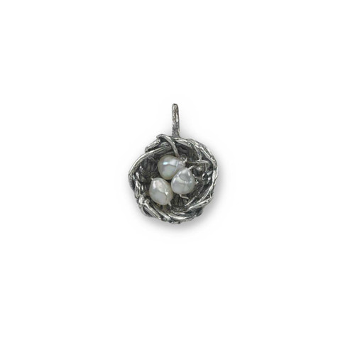 "Sterling Silver Bird's Nest Charm 5/8"" Long"