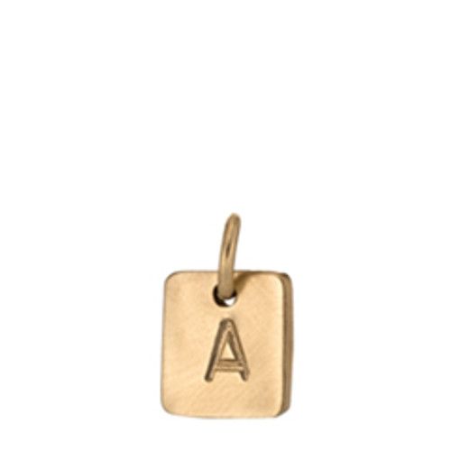 14kt  Expression Square Charm Brushed