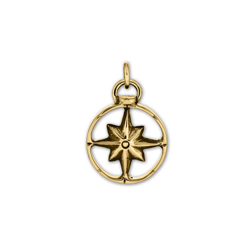 14kt Gold Compass Charm symbol of lifes journey & power