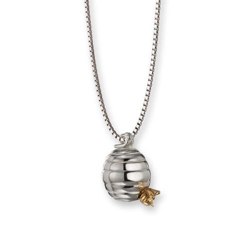 Sterling & 14kt Small Beehive with 14kt Bee Pendant