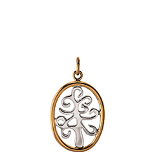 Sterling & 14kt Framed Tree of Life Charm Reflects Unbreakable bond