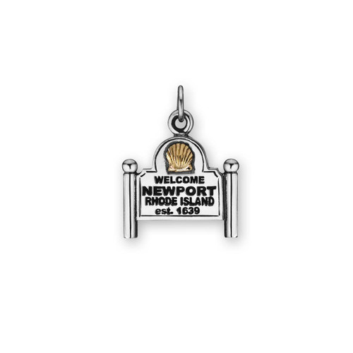 Sterling & 14kt Newport Sign Charm Gestures Welcome