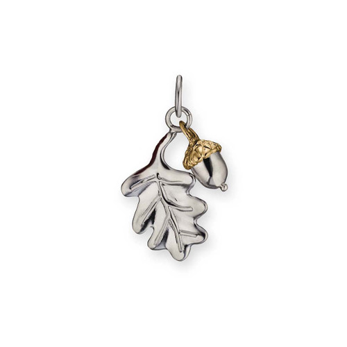 Sterling & 14kt Oak Leaf & Acorn Charm with Jump Ring ti Attach