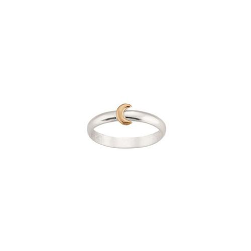 Sterling & 14kt Gold Talisman Moon Ring