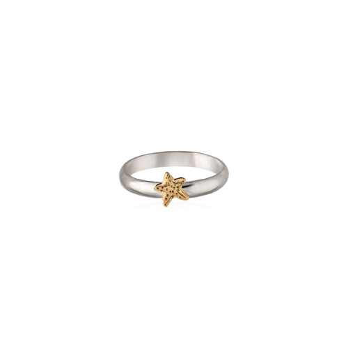 Sterling & 14kt Gold Talisman Starfish Ring with a Silver Band
