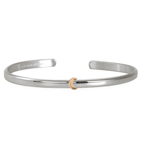 Sterling & 14kt Gold Talisman Moon Cuff Bracelet