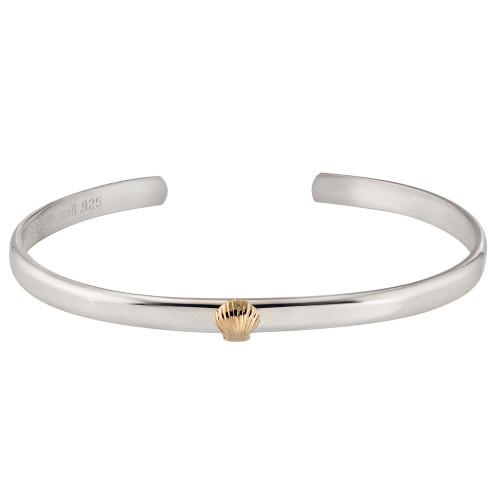 Sterling Silver & 14kt Gold Talisman Shell Cuff Bracelet