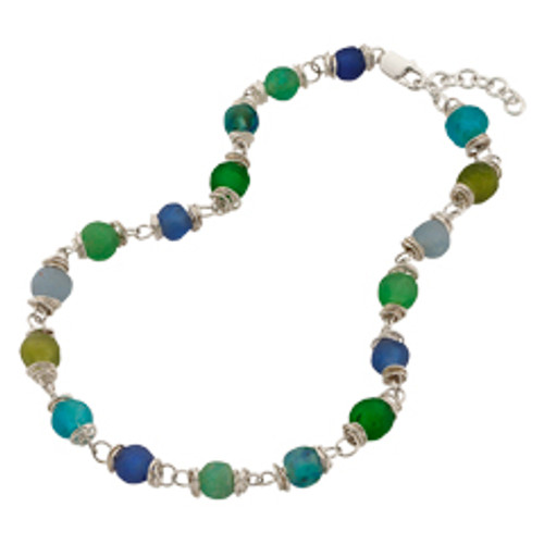 Sterling Silver Fair Trade Glass Bead Necklace