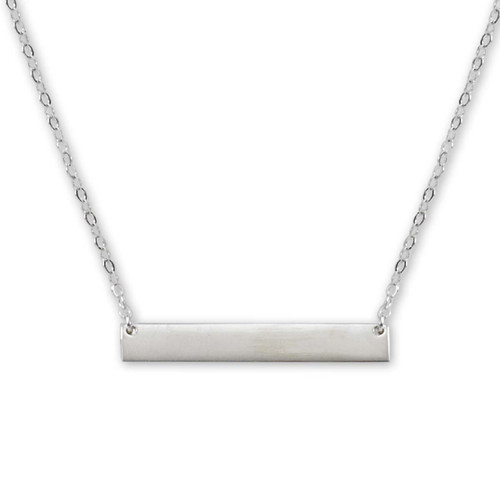 Sterling Silver Personalize Soild ID Bar Necklace