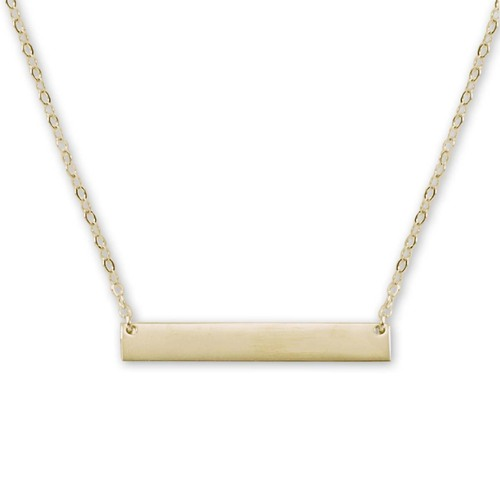 14kt Gold Personalize ID Bar Necklace