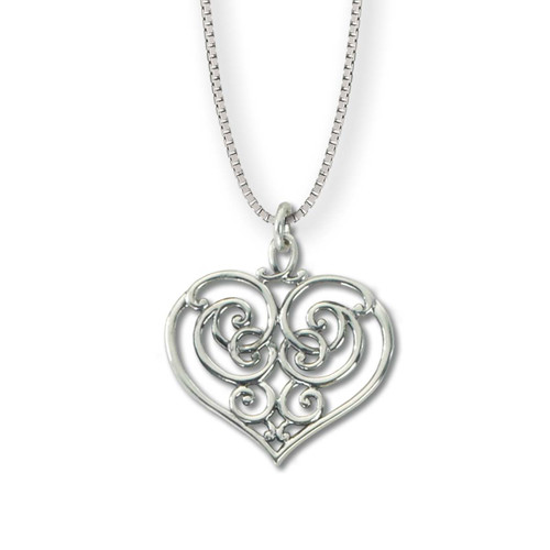 Sterling Silver Garden Gate Heart Pendant