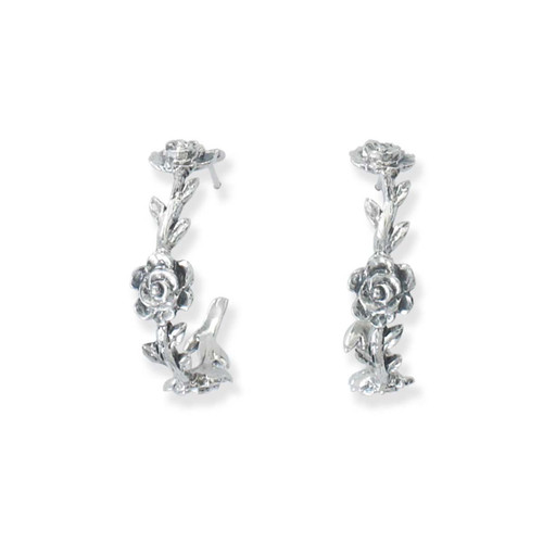Sterling Silver Rose Vine Hoop Earrings