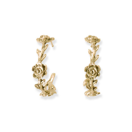 14kt Rose Vine Hoop Earrings