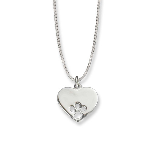 Sterling Silver Paw Print Heart Pendant