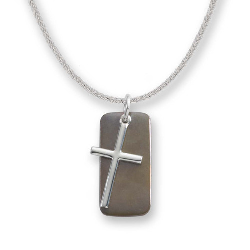 Sterling Silver & Bronze Cross Pendant