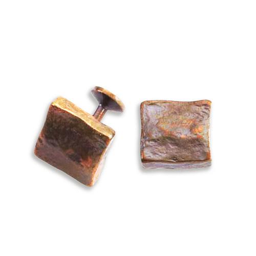 Bronze Molten Cube Cuff Links