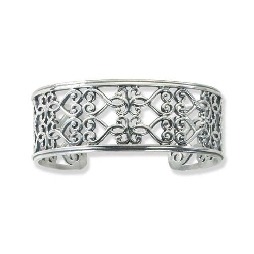 Sterling Silver Garden Gate Scroll Cuff Bracelet