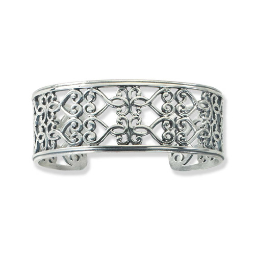 Sterling Silver Garden Gate Scroll Cuff