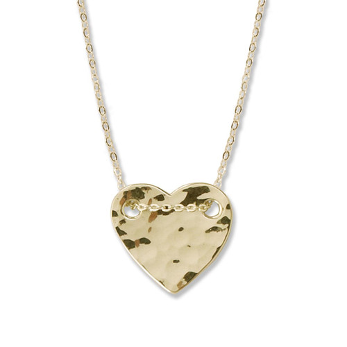 14kt Gold Hammered Heart Chain & Necklace