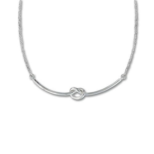 Sterling Silver Love Knot Necklace with Lobster Claw