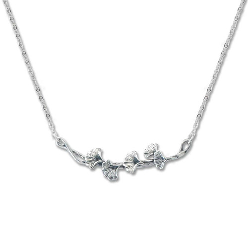 Sterling Silver Ginkgo Necklace