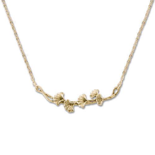 14kt Gold Ginko Necklace
