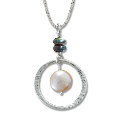 Peach Coin Pearl and Labradorite Pendant Sterling Silver
