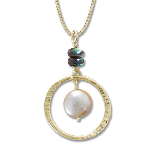 Peach Coin Pearl and Labradorite Pendant 14kt Gold