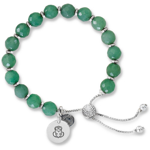 Sterling Silver Color Me Lucky Green Aventurine Lariat Bracelet.