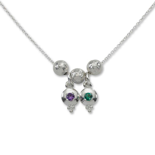 Sterling Silver Story of Us 2 Birthstone Necklace